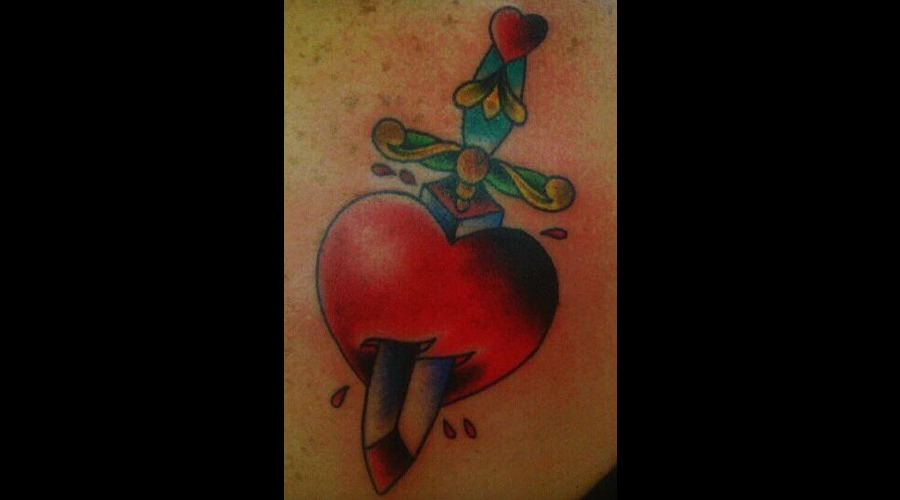 Heart & Dagger  Heart  Dagger  Traditional  Color Shoulder