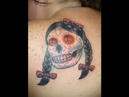 Day Of The Dead  Skull  Traditional  Color Shoulder