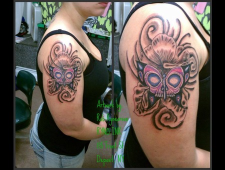 Butterfly  Skull  New School Color