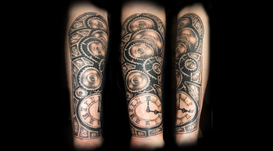 Time  Clock   Time Piece  Gears Black Grey Forearm