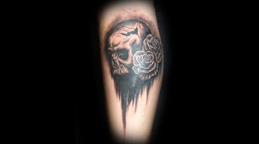Skull  Rose  Dark Black Grey Lower Leg