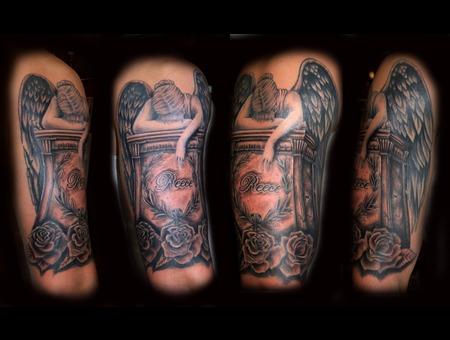 Angel  Tombstone  In Memory Black Grey Shoulder