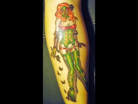 Day Of Dead  Pinup  Zombie Girl Color Lower Leg