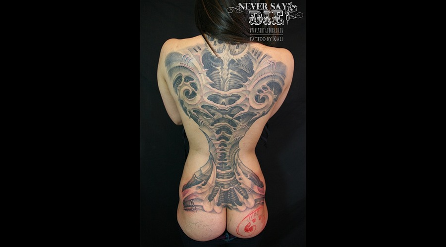 Backpiece   Female  Biomech Black White