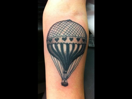 Hot Air Balloon   Black White