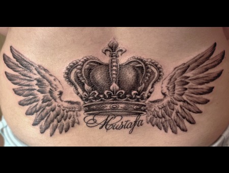 Crown. Wings Black White