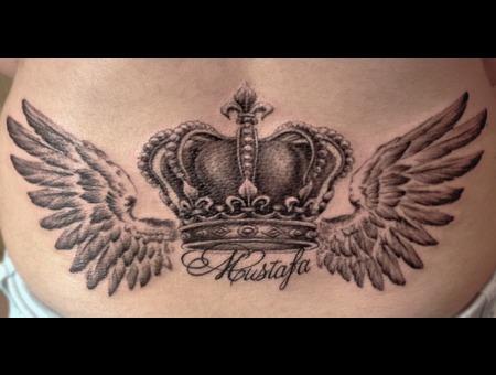 Crown. Wings Black White