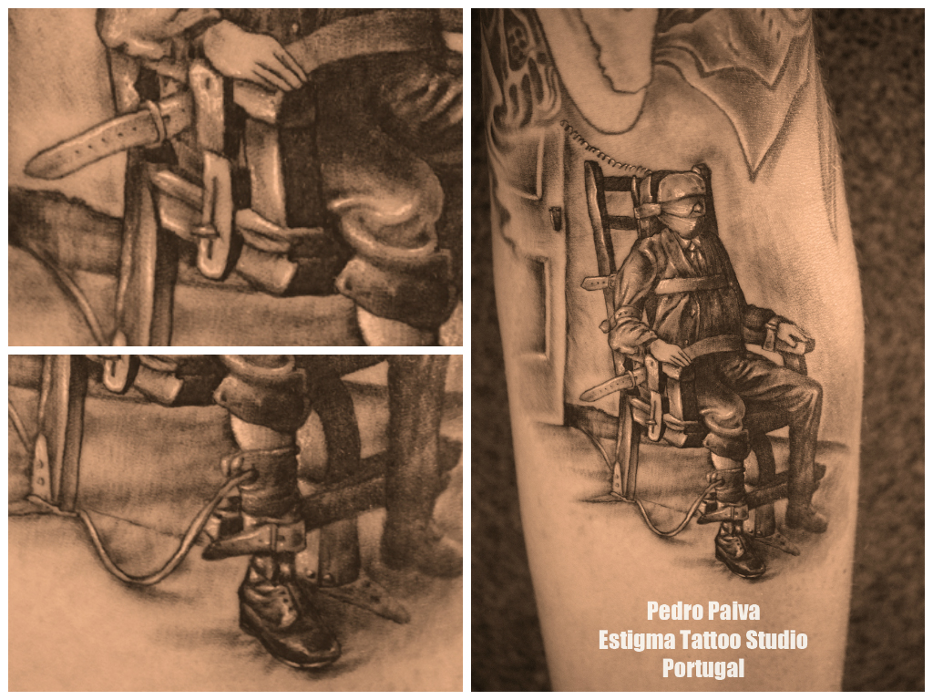 Electric chair tattoo - Electric Chair Tattoo Estigma Estudio Santa Maria Feira Portuga Pedro Paiva Black Grey Forearm