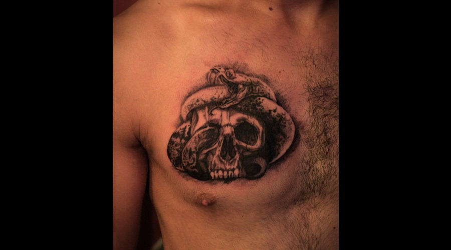 Skull  Snake  Black  Chest  Tattoo Black White