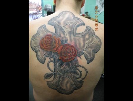 Cross And Roses  Back Color