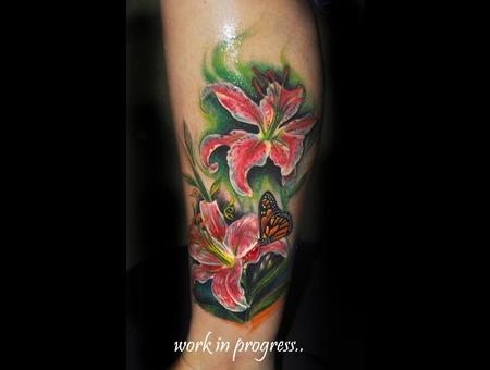 Floral Leg Sleeve In Progress.. Color Lower Leg