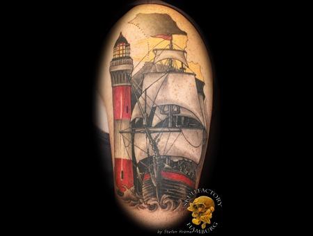 Sailingship  Lighthouse  Healed Black Grey Arm
