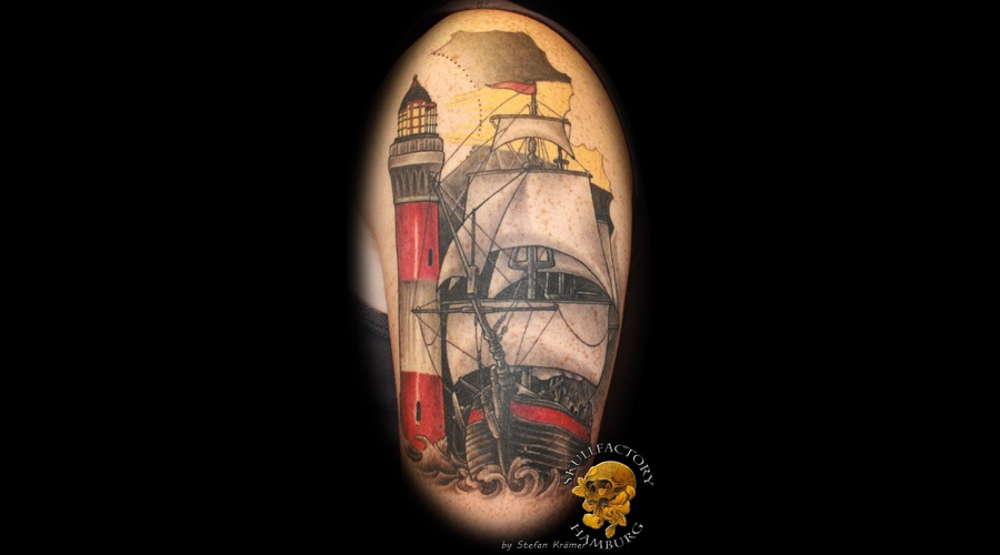 Sailingship  Lighthouse  Healed Black Grey Arm