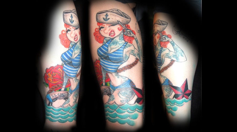 Pin Up Girl  Sailor  Nautical Color Lower Leg