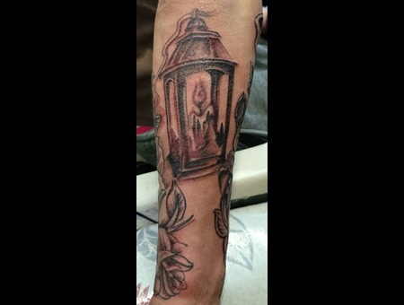 Lantern  Candle  Light  Roses  Scrolls  Time  Clock  Half Sleeve Black Grey Forearm