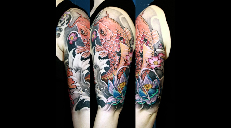 Japanese  Koi  Traditional  Lotus Color