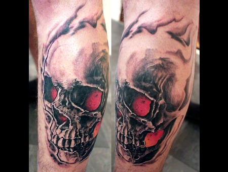 Skull  Realistic Black White