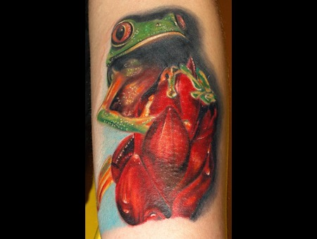 Frog Animal Realism Color Colors Flower Micheleturco Tattoodacosanascecosa  Color Forearm