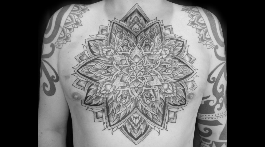 Chest Piece Dotwork Mandala Black White