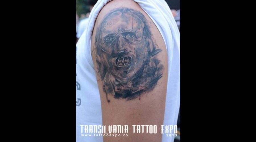 Horror'hanibal'jeff Tattoo Black White Shoulder