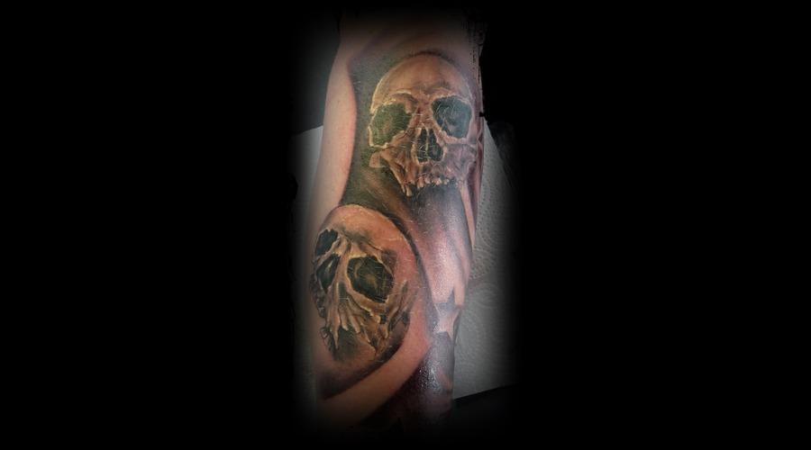 Skull'jeff Tattoo  Black White Forearm