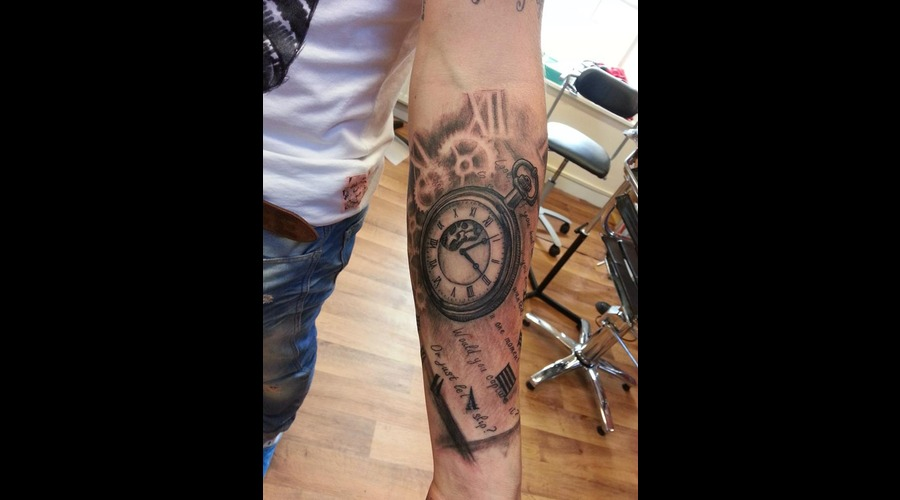 Pocketwatch Tattoo  Black White