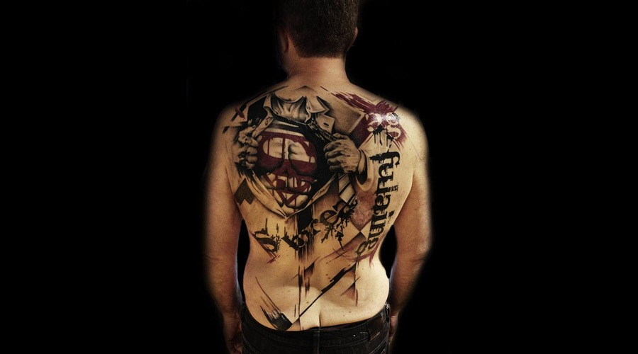 Superman Back Piece Abstract Black White