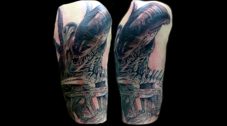 Cover Up Half Sleeve Black Grey Arm