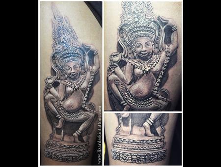 Indian Sculpture Black Grey Arm