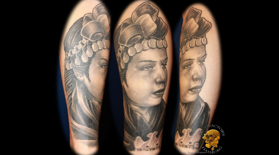 Portrait  Healed  Forearm  Black And Grey  Nofilter  Skullfactory  Hamburg Black White