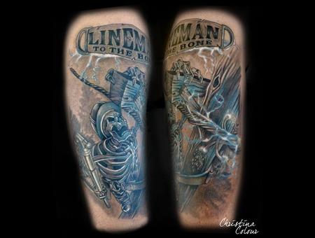 Lineman Sceleton Electric White Blue Color Arm