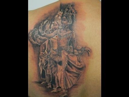 Apsara Dancers Black White Back