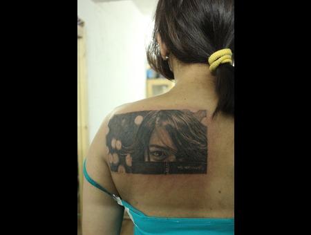 Portrait Of Clients Sister Black White Back
