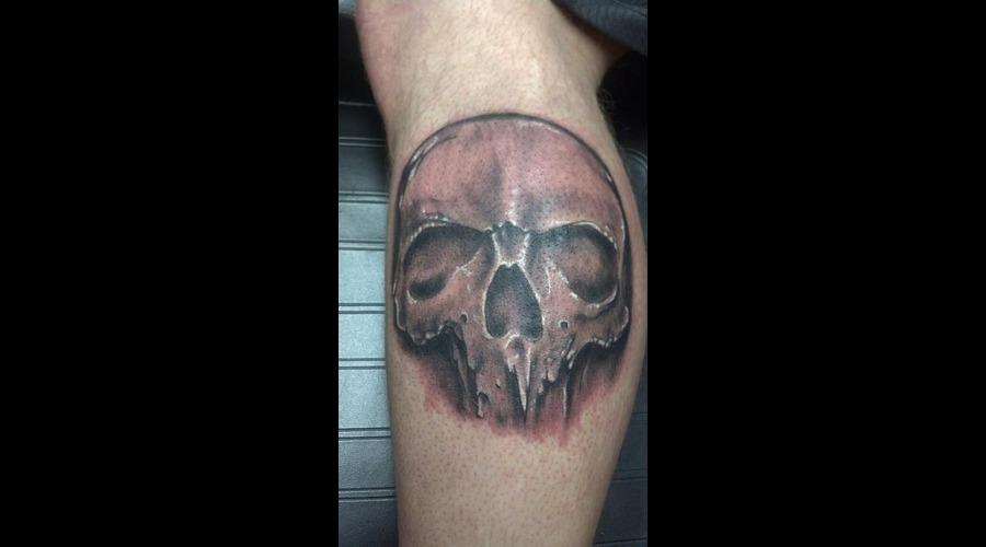 Skull Tattoo Black Grey Arm