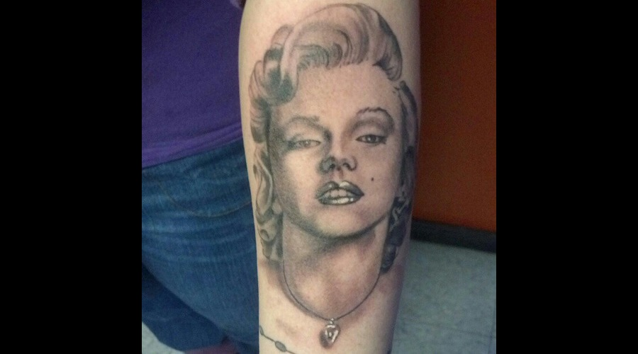 Portrait Marilyn Monroe Tattoo Black Grey Arm