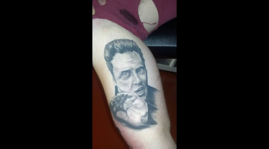 Portrait Christopher Walken Tattoo More Cow Bell Tattoo Black Grey Arm