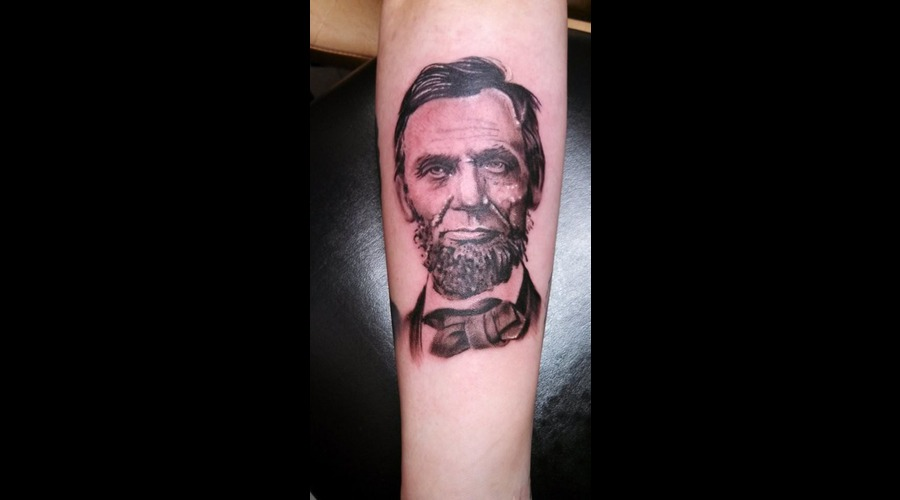 Abraham Lincoln  Tattoo Portrait  Black Grey Forearm
