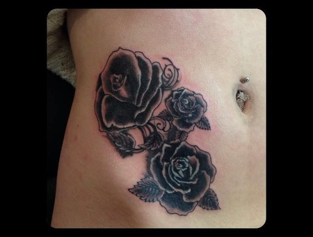 Cover Up  Coverup  Rose  Roses  Petals  Black And Grey  Side  Hip Black White