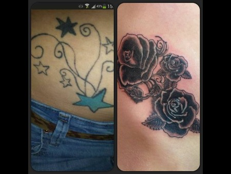 Cover Up  Before  After  Black And Grey  Roses  Petals Black White