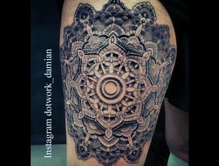 Dotwork Mandala  Dotwork Damian Black White