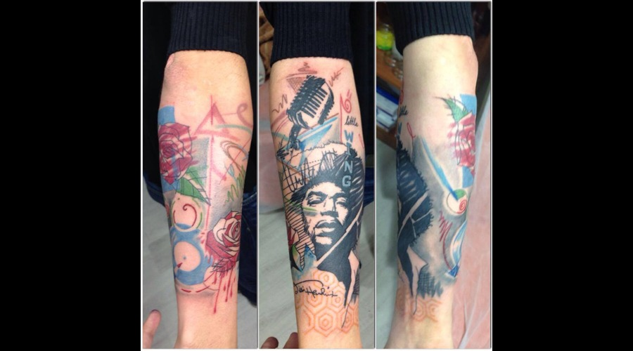 #Jimihendrix #Halfsleeve #Music #Microphone #Abstract #Illustration Color