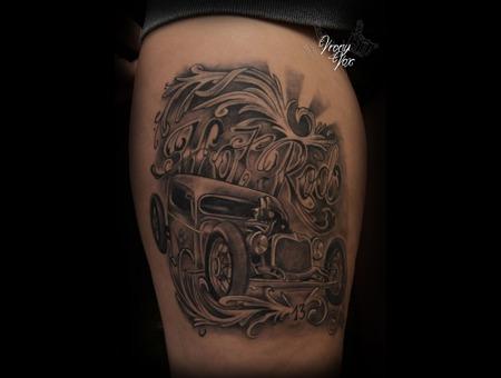 Hot Rod Rockabilly Rat Rod Car Oldtimer Usa Black White