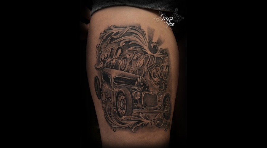 Hot Rod Rockabilly Rat Rod Car Oldtimer Usa Black White