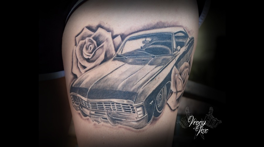 Impala Chevrolet Car Oldtimer Realistic Rose Black White
