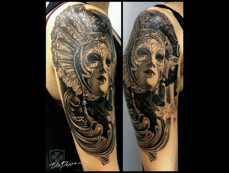 Venice Mask  Black 'n Gray  Realistic  Arm Tattoo Black Grey Arm