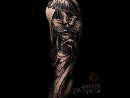Black 'n Grey  Realistic  Face  Butterfly  Arm Tattoo Black Grey Arm