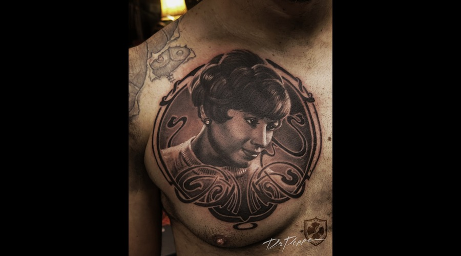 Portrait  Black 'n Grey  Realistic  Retro Style  Chest Tattoo Black Grey Chest