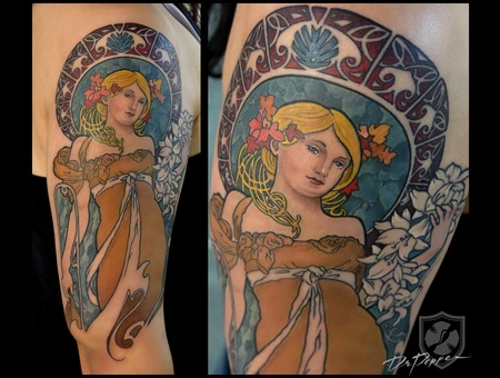 Art Nouveau  Mucha Style  Colour Tattoo  Arm Tattoo   Color Arm