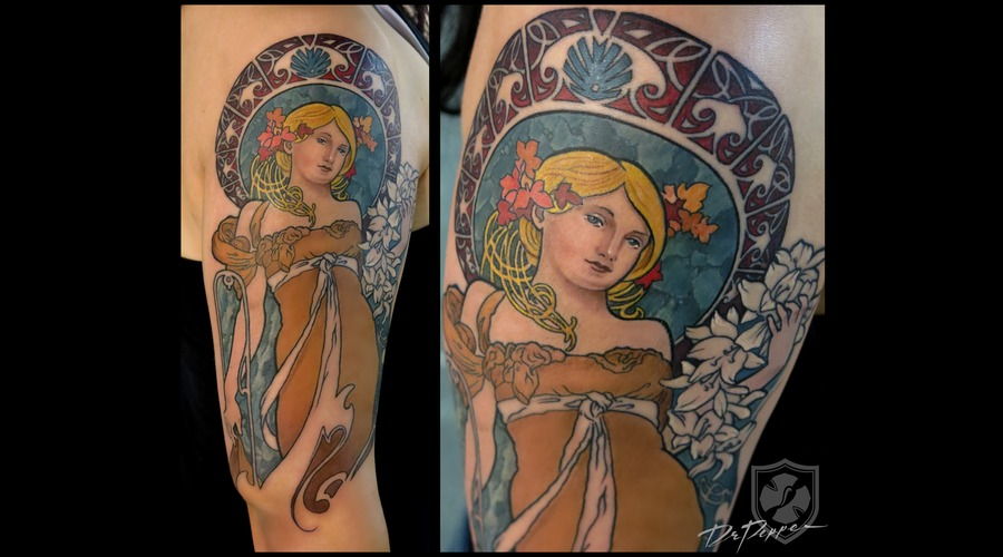 Art Nouveau  Mucha Style  Colour Tattoo  Arm Tattoo   Color Arm