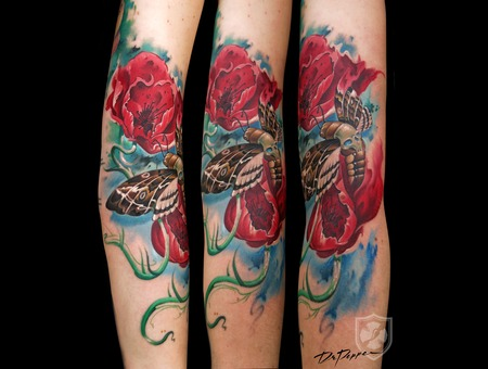 Colour Tattoo  Moath  Poppies  Surreal  Arm Tattoo Color Forearm